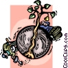 Vector Clip Art graphic  of a farmer planting a crop
