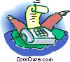 fax machine with arms Vector Clipart graphic