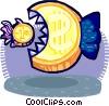 Vector Clipart image  of a big money eating little money