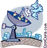 satellite dish with a bird delivering a letter Vector Clipart illustration