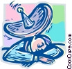 man sleeping under a satellite dish Vector Clip Art picture