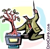 man sewing a tree onto a computer Vector Clipart picture