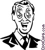 Vector Clip Art picture  of a man with dollar sign eyes
