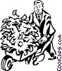 Vector Clipart graphic  of a man with a wheelbarrow full of
