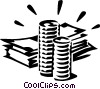 Vector Clipart graphic  of a dollar bills and coins
