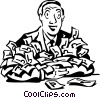 man with loads of money Vector Clipart illustration