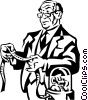 Vector Clipart image  of a businessman looking at the