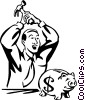 Vector Clipart graphic  of a man opening his piggy bank