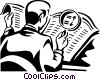 man looking at newspaper with a magnifying glass Vector Clipart illustration