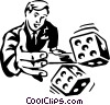 man rolling the dice Vector Clipart image