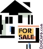 Vector Clipart illustration  of a House for sale