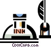 Vector Clip Art graphic  of a ink bottle with quill pen