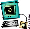 computer desktop system Vector Clipart illustration