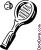 Vector Clip Art image  of a tennis racket