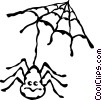 Vector Clip Art image  of a spider and web