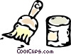 Vector Clipart graphic  of a paintbrush and paint can