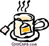 Vector Clip Art image  of a teabag in a cup