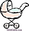 Vector Clip Art graphic  of a baby carriage