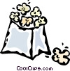 Vector Clip Art graphic  of a bag of popcorn