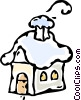 Vector Clipart graphic  of a house in a winter setting