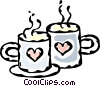 Vector Clipart picture  of a coffee cups with hearts