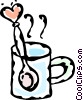 Vector Clipart graphic  of a cup of coffee with a Valentine