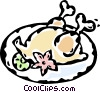 Vector Clip Art graphic  of a roast chicken