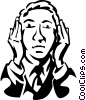 Vector Clip Art image  of a hear no evil