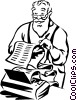 Vector Clip Art image  of a Santa reading his list