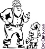 Santa giving instructions to his elf Vector Clip Art graphic