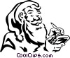 Santa writing in his notepad Vector Clipart picture