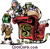 Elves packing the sleigh Vector Clipart illustration