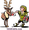 Vector Clip Art image  of a Elf putting on Rudolph's red
