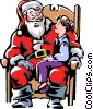 Vector Clip Art image  of a child sitting on Santa's lap