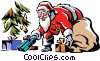 Santa putting presents under the tree Vector Clip Art picture