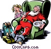Santa sleeping in a chair after milk and cookies Vector Clipart image