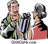woman giving a man a present Vector Clipart picture