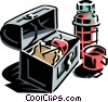 Vector Clipart picture  of a lunch box with thermos