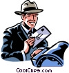 Vector Clip Art picture  of a man mailing a letter