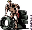 Vector Clipart image  of an Auto mechanic with tires