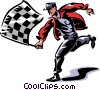 man with a checkered flag Vector Clip Art picture