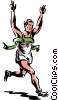 Vector Clip Art graphic  of a runner breaking the ribbon in