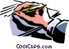 Vector Clip Art graphic  of a person signing a paper with a