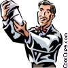Vector Clipart graphic  of a bartender mixing a drink
