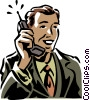 man talking on the phone Vector Clip Art graphic