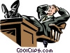 businessman relaxing at his desk Vector Clipart graphic