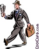 man walking with a newspaper and his briefcase Vector Clip Art picture