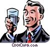 Vector Clip Art image  of a man holding a glass