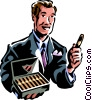 Vector Clip Art image  of a man offering a cigar