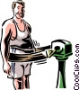 Vector Clipart image  of a Man with exercising machine